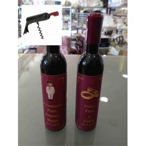 Sacacorchos abrebotellas forma botella vino