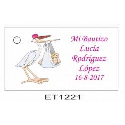 Etiqueta cigueña gorra rosa