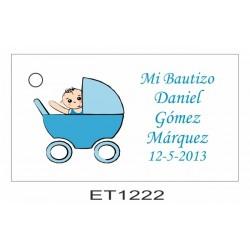 Etiqueta bebe en carrito azul