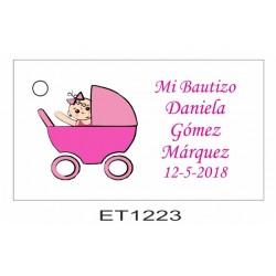 Etiqueta bebe en carrito rosa
